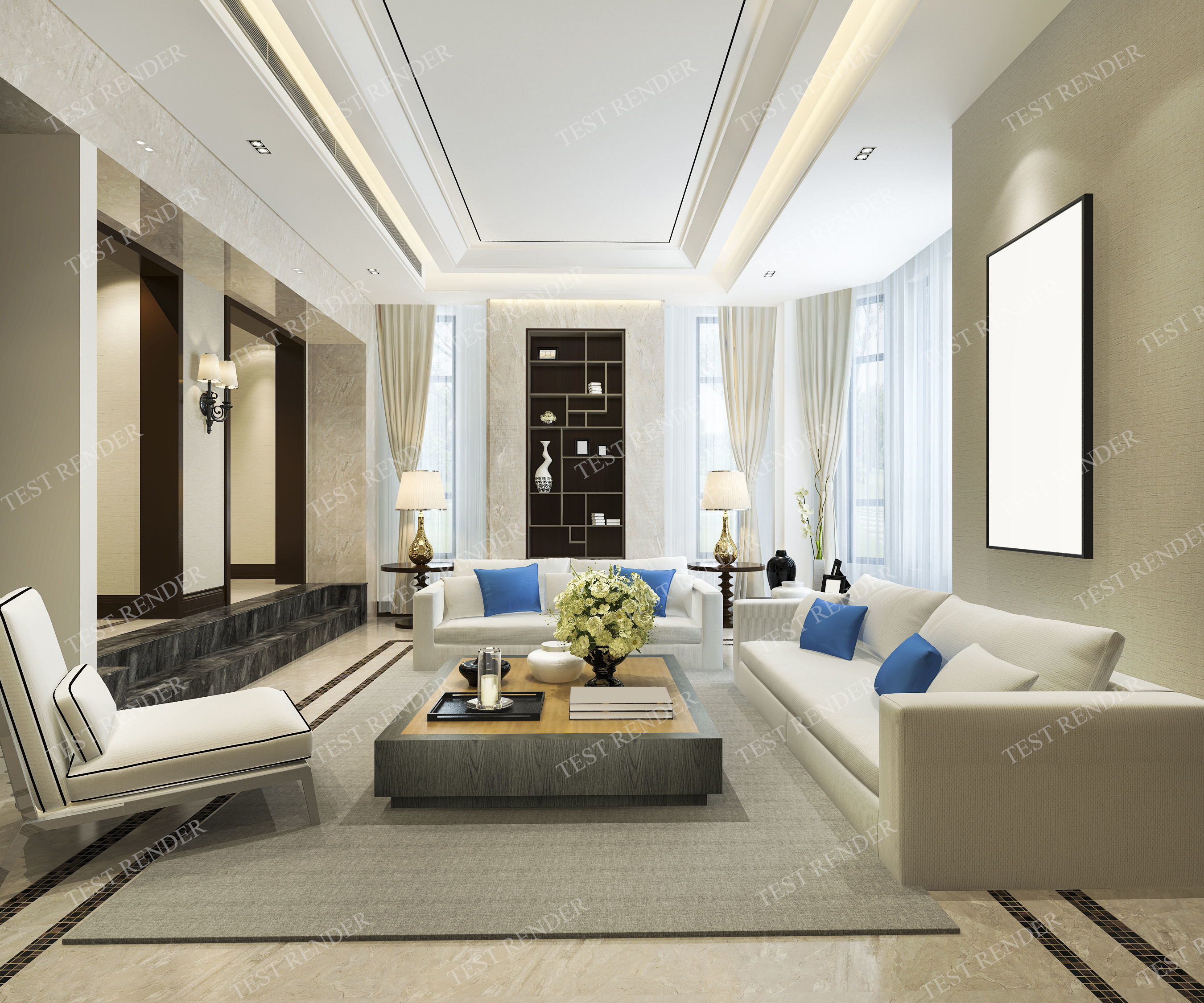 Modern Classic Vintage Living Room With Tv 3d Model