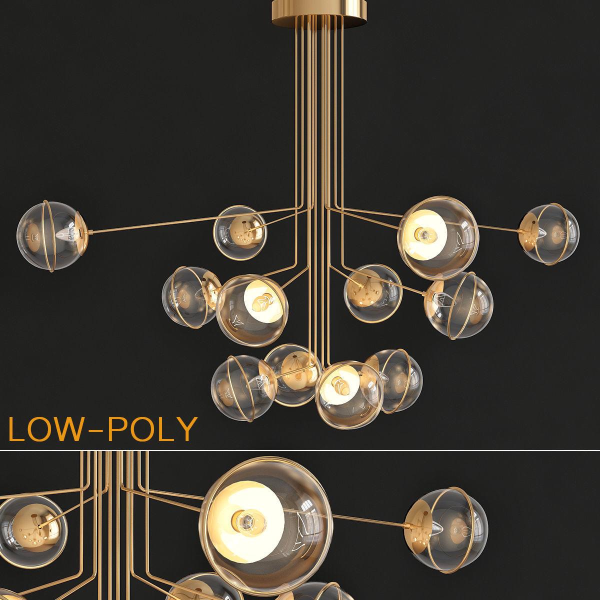 turenne large dynamic chandelier circalighting 3d model 3d model