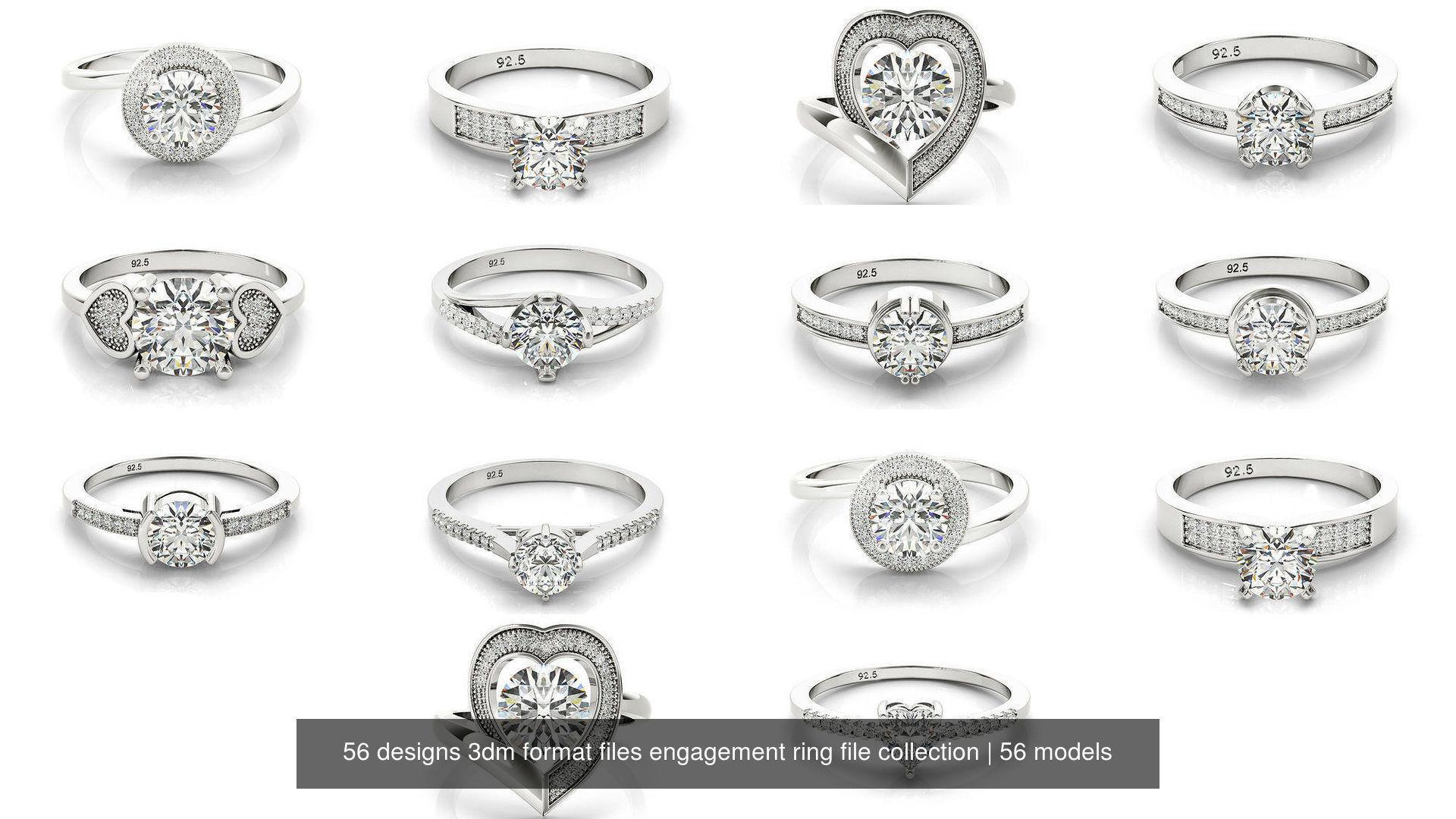 56 designs 3dm format files engagement ring file