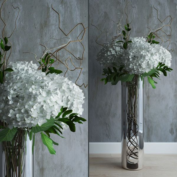 White hydrangeas in tall vase with willow branches 3D ...