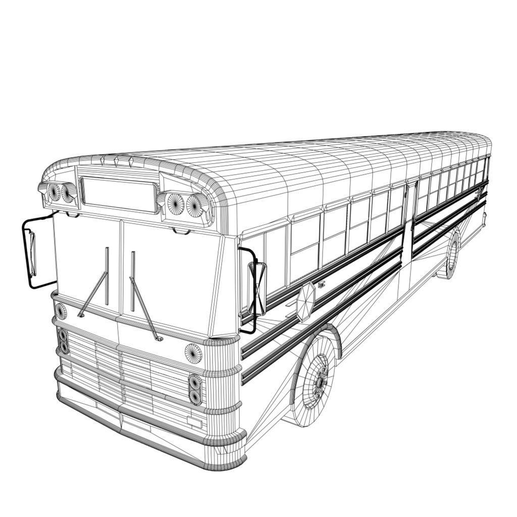 3D model american school bus VR / AR / low-poly FBX MA MB