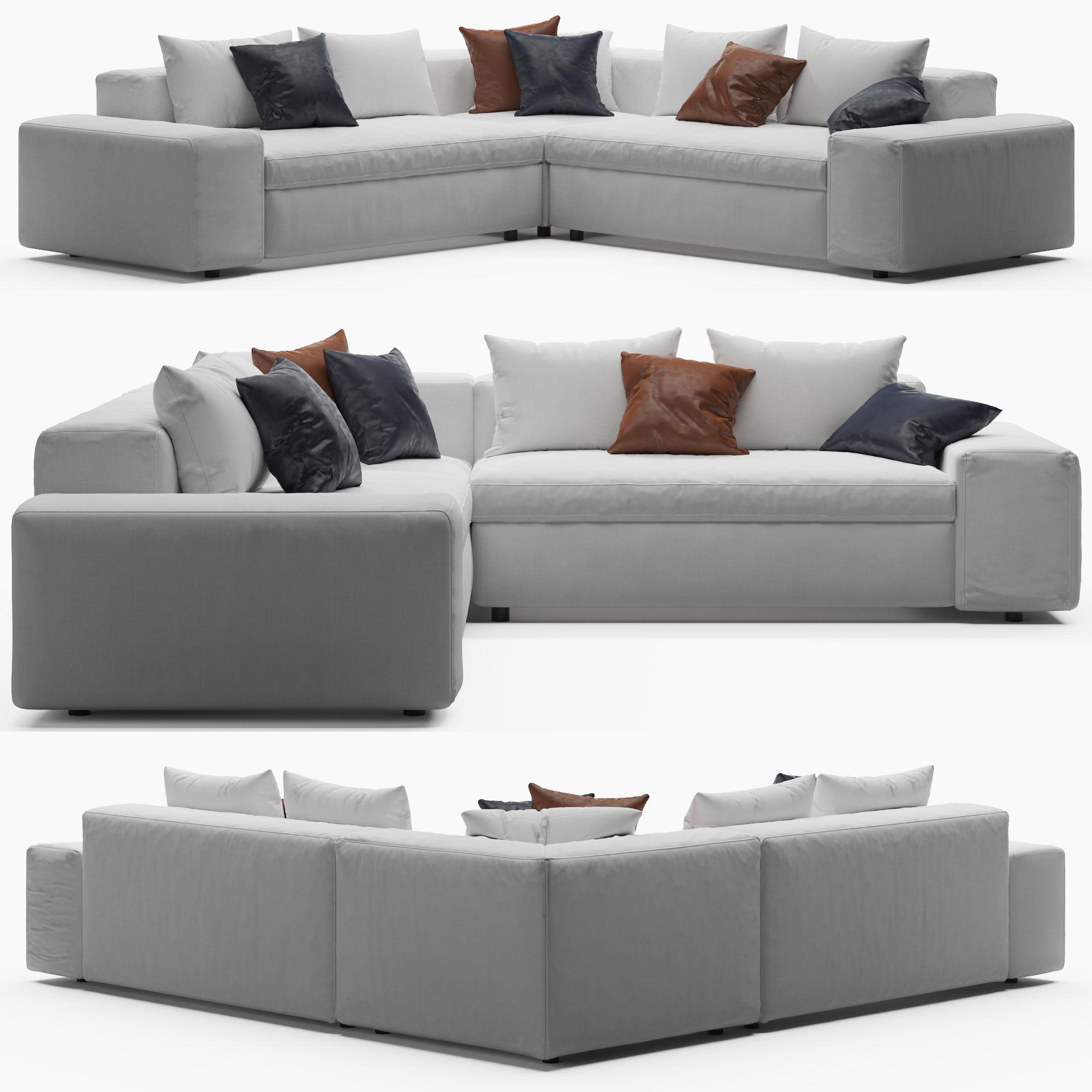 cb2 arlo sectional sofa 3d model