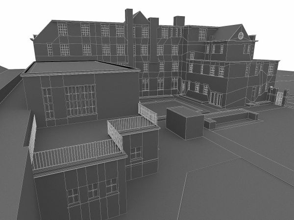 3d Model London Brick Building Vr Ar Poly Max Obj - Year of
