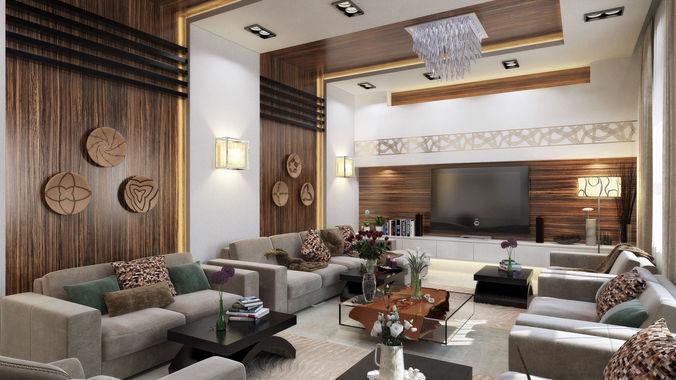 Fall Ceiling Wallpaper Download 3d Modern L Shape Living Room Cgtrader