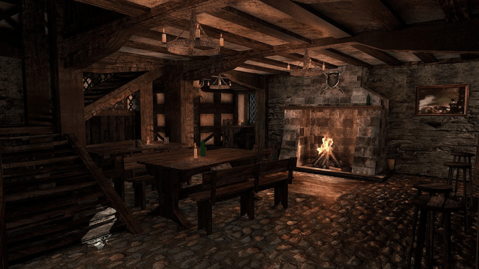Free Animated Fireplace Wallpaper 3d Model Medieval City Tavern Vr Ar Low Poly Obj 3ds