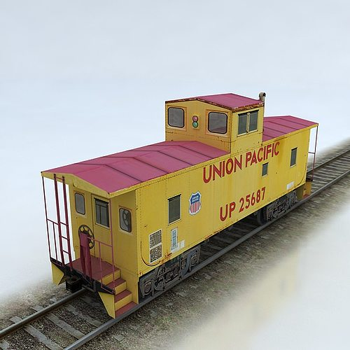 3D asset Union Pacific Caboose  CGTrader