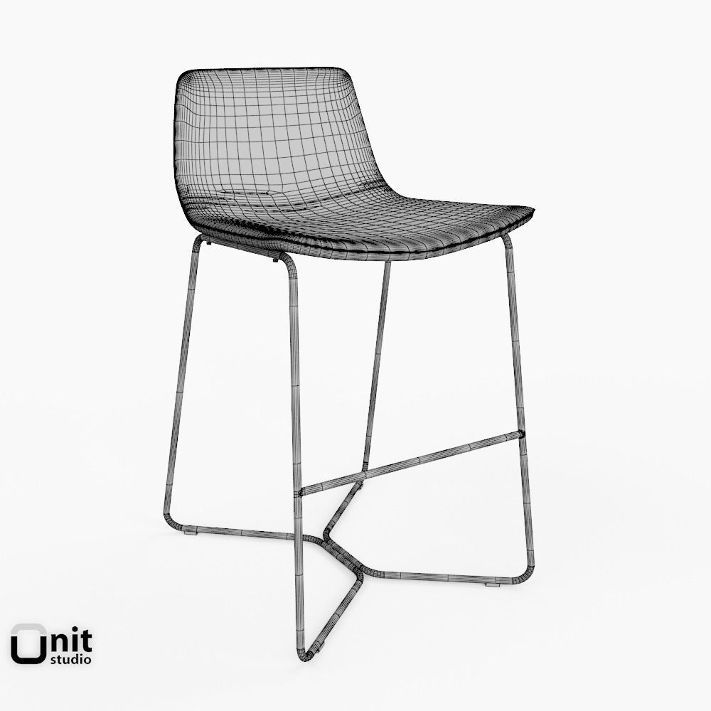 Slope Chair and Stool by West Elm 3D Model MAX OBJ 3DS FBX