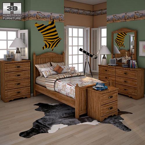 3D model Ashley Camp Huntington Poster Bedroom Set VR  AR