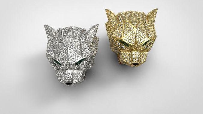 Diamond Panther Ring 3D model 3D printable STL 3DM