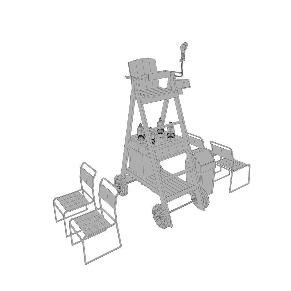 tennis umpire chair hire thai design 3d asset cgtrader model fbx ma mb 5