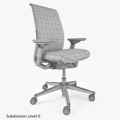 Office Chair 3d Model Covers Recliner Pads Headrest Steelcase Think Max Obj Fbx Mtl
