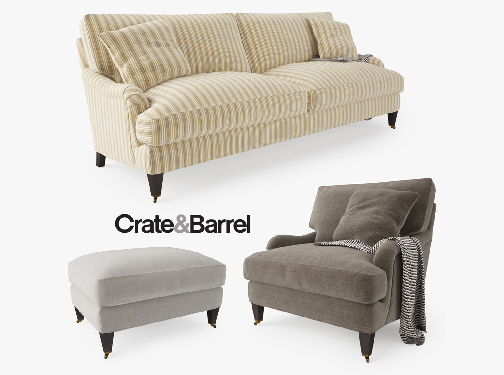 essex sofas top grain leather sofa set deals crate and barrel collection 3d model max obj