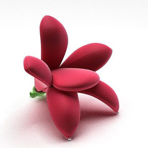 3D model Bright Red Flower Chair  CGTrader