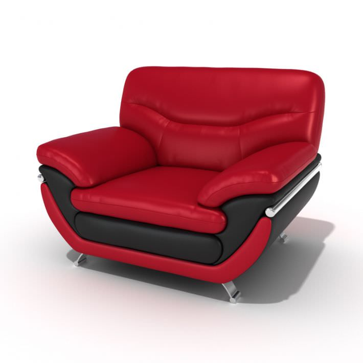 red lounge chair step stool canada 3d model leather cgtrader