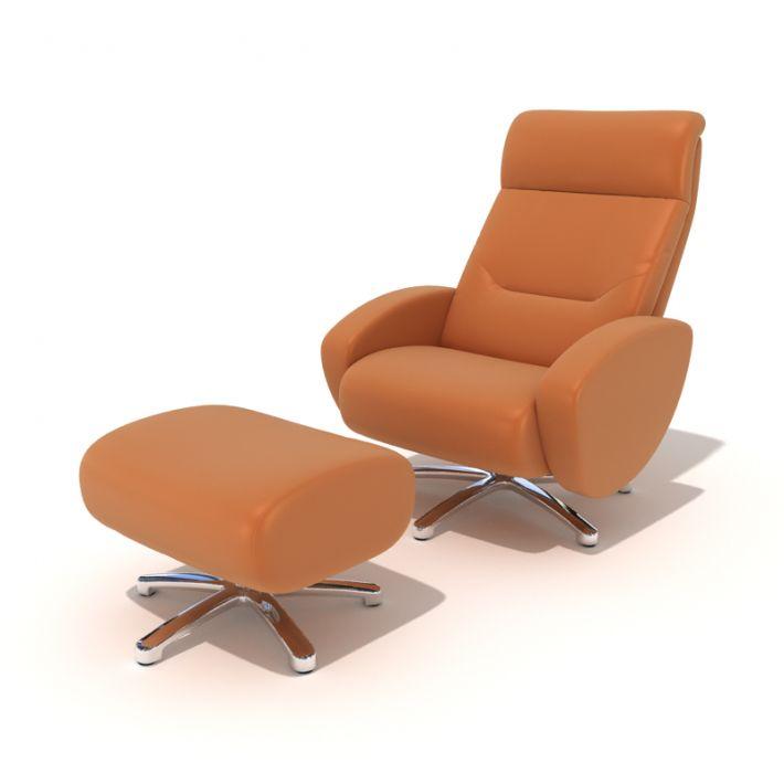 modern recliner chair folding wooden orange reclining with footrest 3d model 1