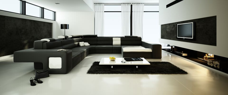 spacious living room with big black sofa 3d model