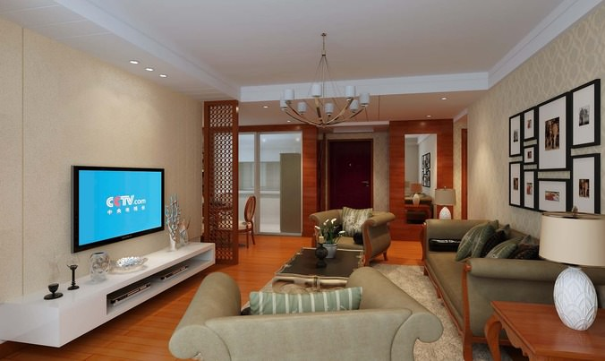 Fully Furnished Living Dining Room With Oak Floor And