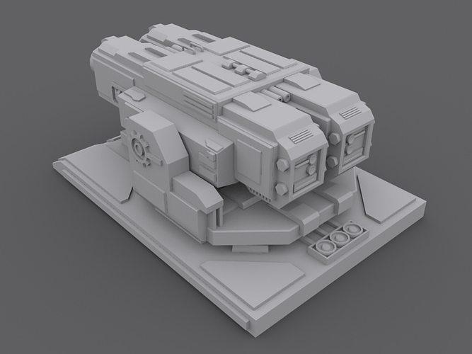 3d Machine Gun Turret Cgtrader