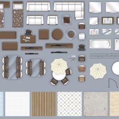 Desk Chair Plan View Rustic Pads 2d Furniture Floorplan Top Down Style 3 Psd 3d Model