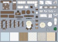 2d furniture floorplan top down view style