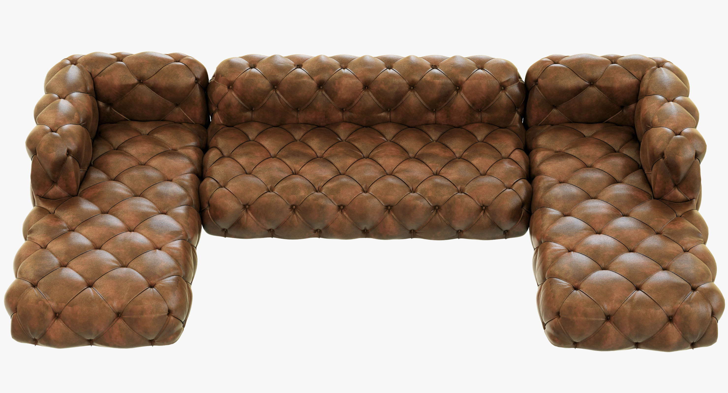 leather sectional sofa restoration hardware old world style soho tufted u chaise 3d model max obj mtl 3ds fbx