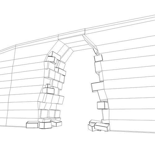 3D model Broken wall Module VR / AR / low-poly MAX OBJ 3DS
