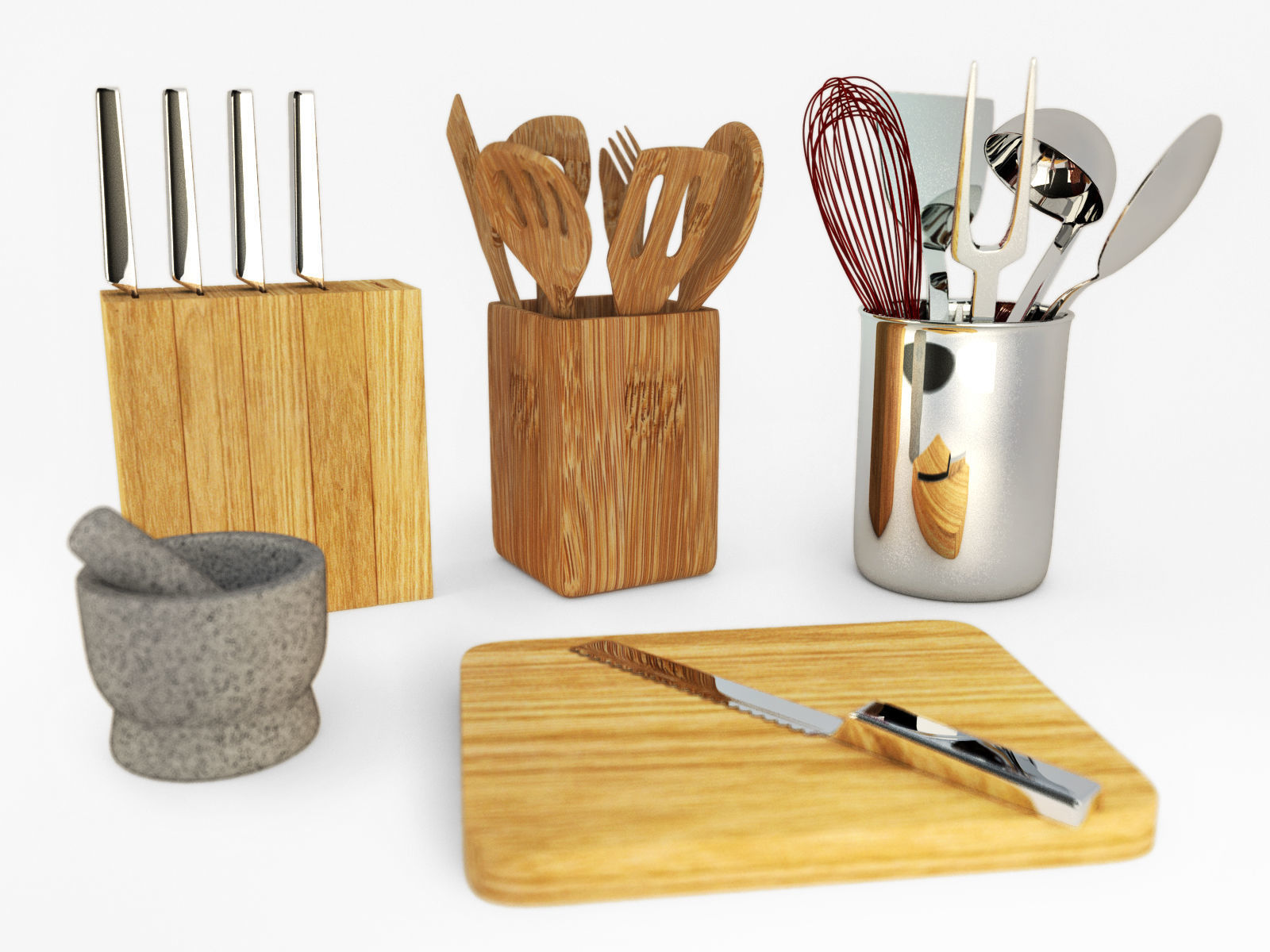kitchen utensil set brass hardware 3d model utensils cgtrader