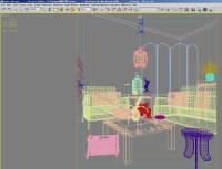 Living Room with Floral Design Walls 3D Model MAX ...