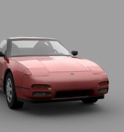 nissan 240sx s13 low poly 3d model [ 1184 x 811 Pixel ]