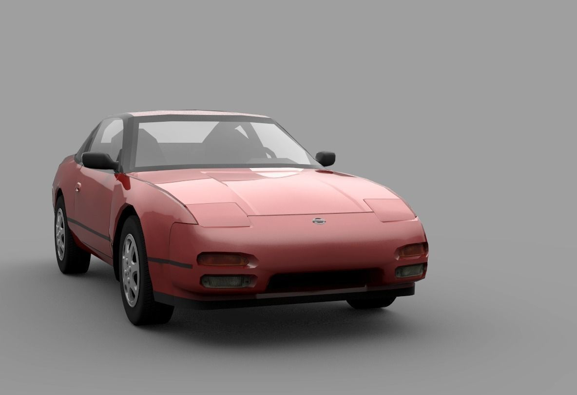 hight resolution of nissan 240sx s13 low poly 3d model