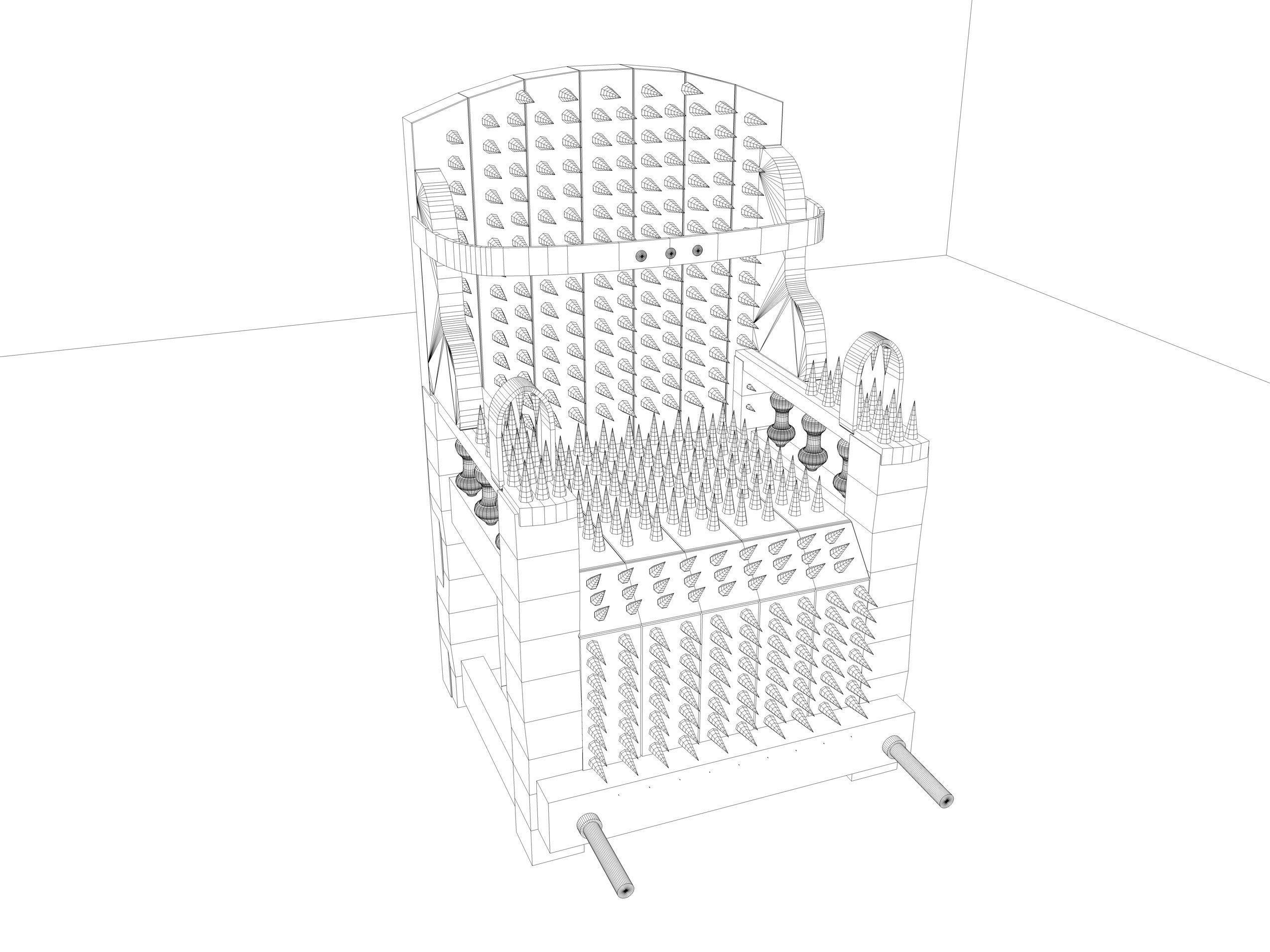 Iron Chair Torture Device 3D Model OBJ 3DS FBX C4D DXF STL