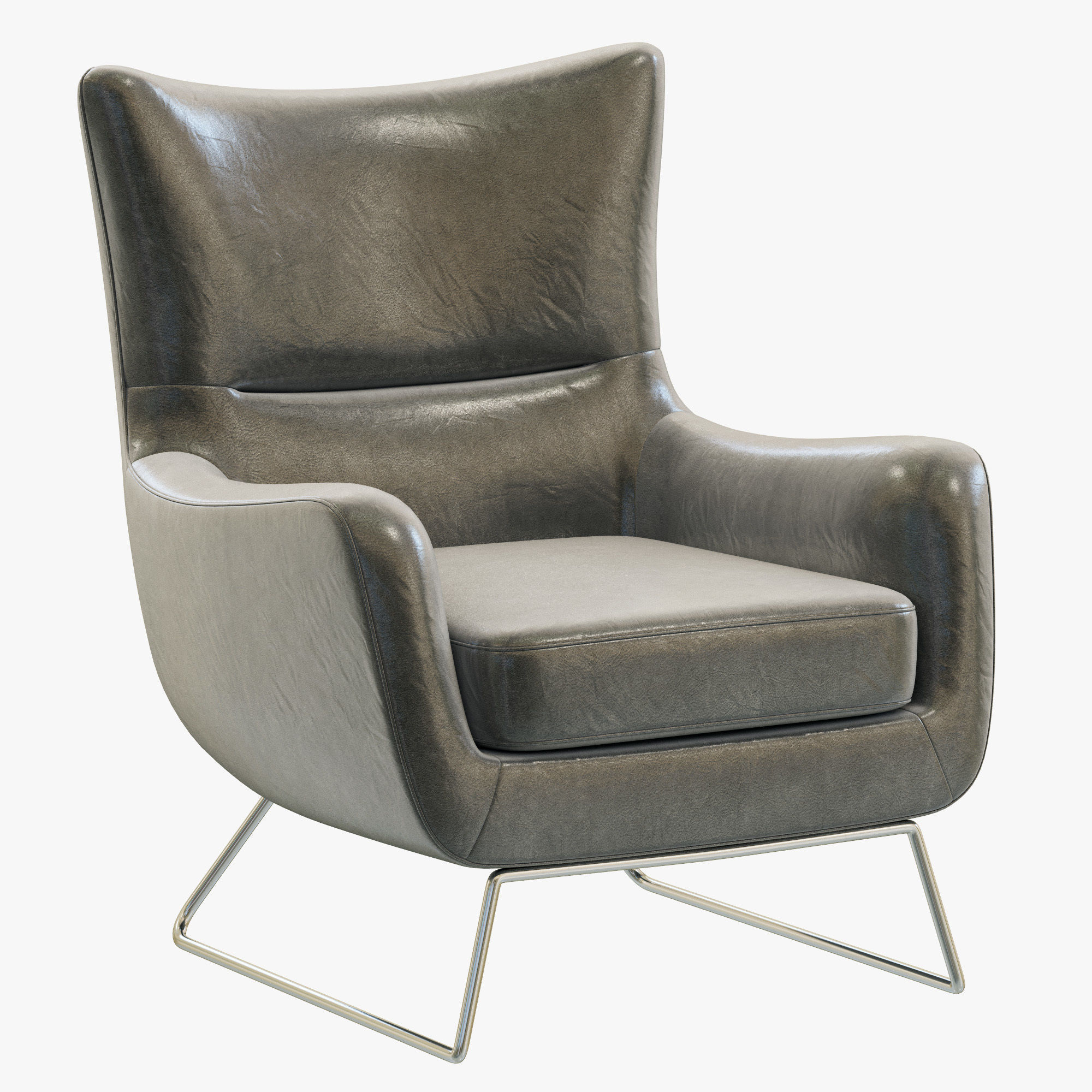 Modern Leather Chairs Rh Modern Liam Leather Chair 3d Model