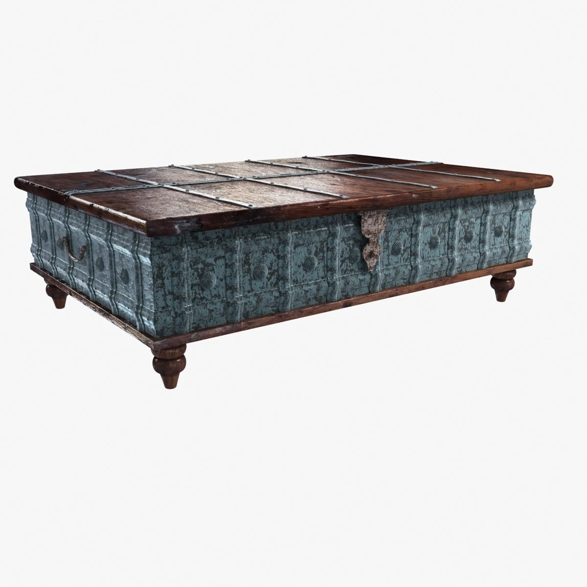 distressed trunk coffee table 3d model