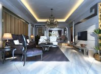 3D model Home Living Room with Posh Chandelier | CGTrader