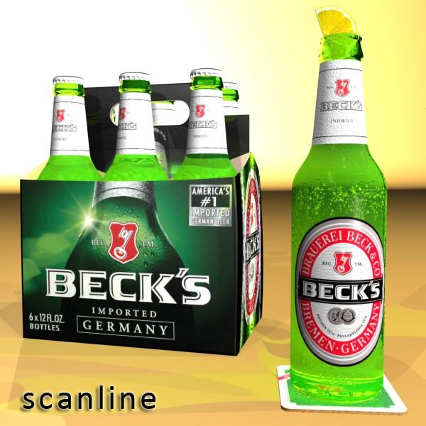 Beer Bottle 6 Packs Coasters Opener Set 3D Model MAX OBJ