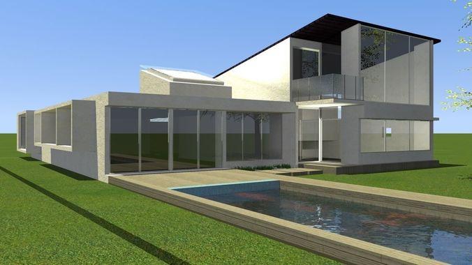 Modelo casa minimalista con piscina  CGTrader