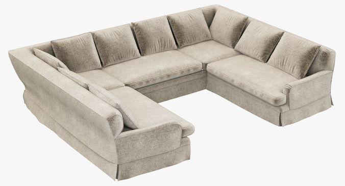 u sofa bed wooden slats restoration hardware belgian classic roll arm sectional 3d model