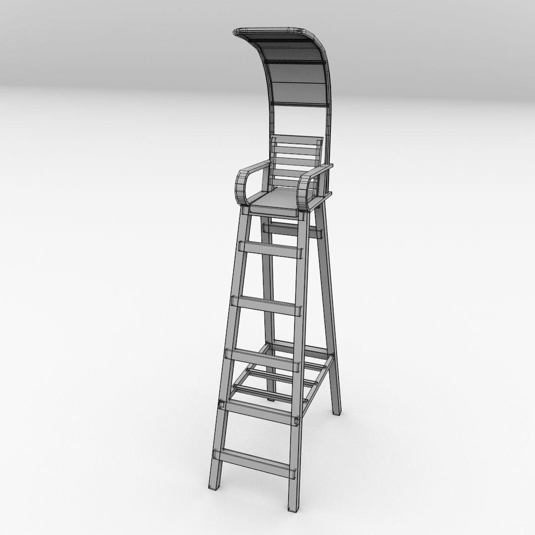 tennis umpire chair hire stackable covers australia 3d model cgtrader obj mtl 3ds fbx blend dae 5