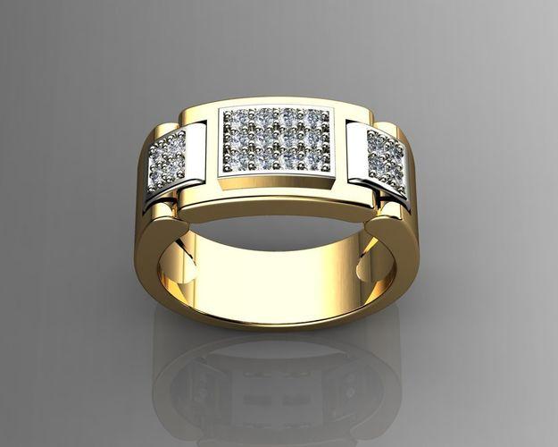 Diamond Mens Rings 3D Printable Model CGTrader