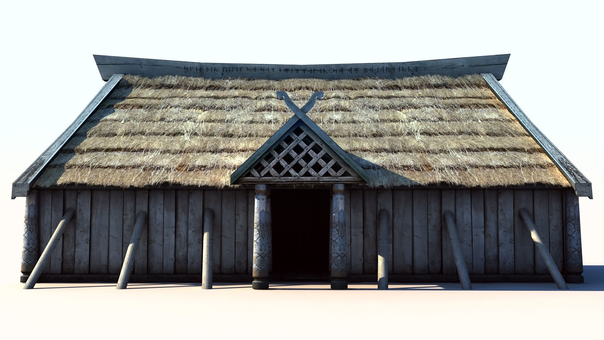 3d Model Viking House 3 Longhouse Vr Ar Low Poly Max