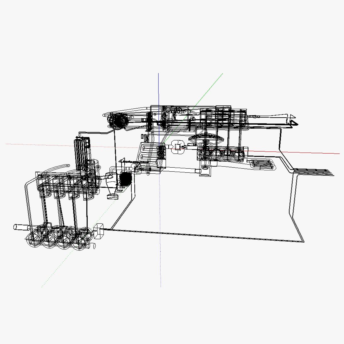 Wood Gas Fed At Ic Motor 3d Model Skp
