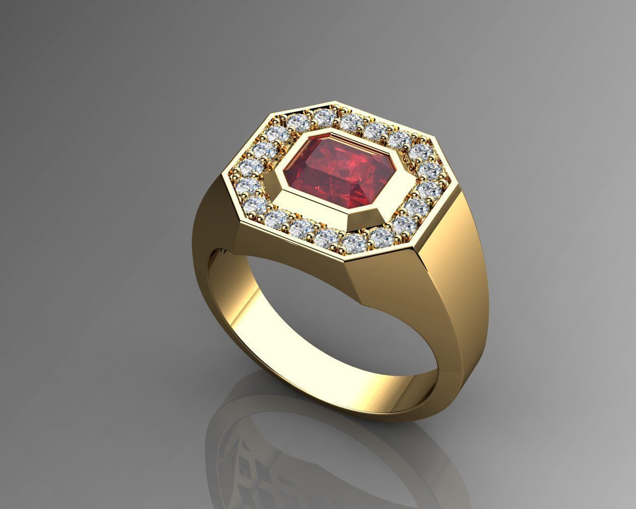 Pave Mens Ring Diamond and Ruby 3D Model 3D printable STL