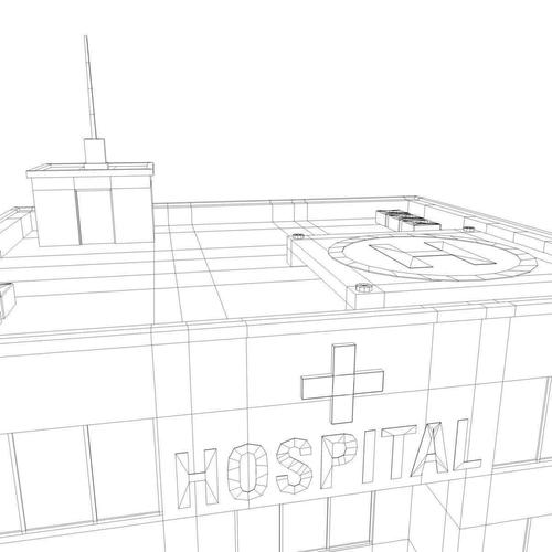3D model Low Poly Hospital VR / AR / low-poly OBJ 3DS FBX