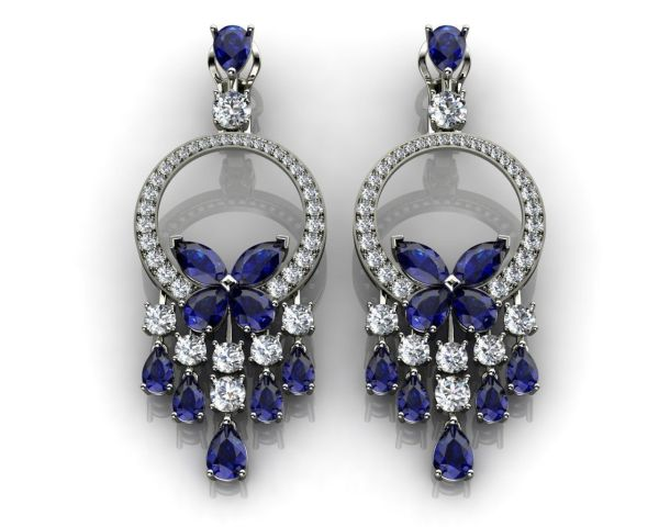 Sapphire Blue Earrings Butterfly Diamond Collection 3D