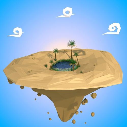 3D Asset Floating Island CGTrader