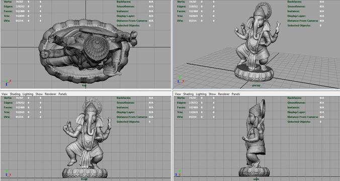 3D model Dancing Ganesha VR / AR / low-poly MAX OBJ FBX MA