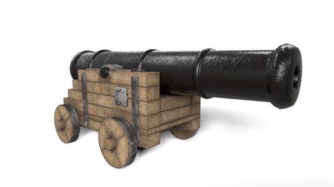 Antique Cannon Ship Cannon Pirate Cannon 3D Model FBX