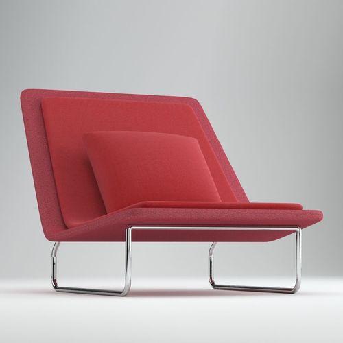 red lounge chair swivel mechanism parts scandinavian 3d model cgtrader