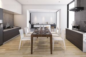 kitchen dining wood contemporary rendering interior models appliance wide architectural floor cgtrader building