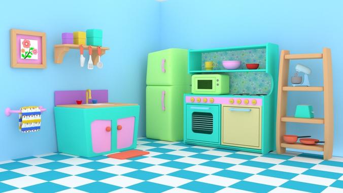 kitchen kid servers kids play 3d cgtrader model obj mtl fbx blend 1